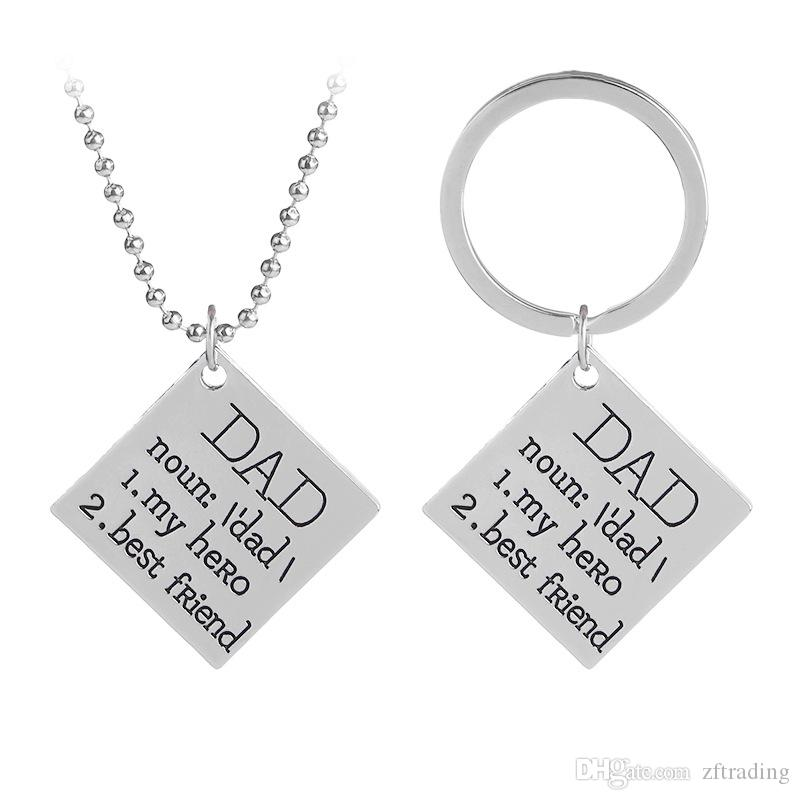 dad is my hero best friend keychain letter alloy key chains rings necklace fashion jewelry for fathers day gift red heart love key chains men cassic
