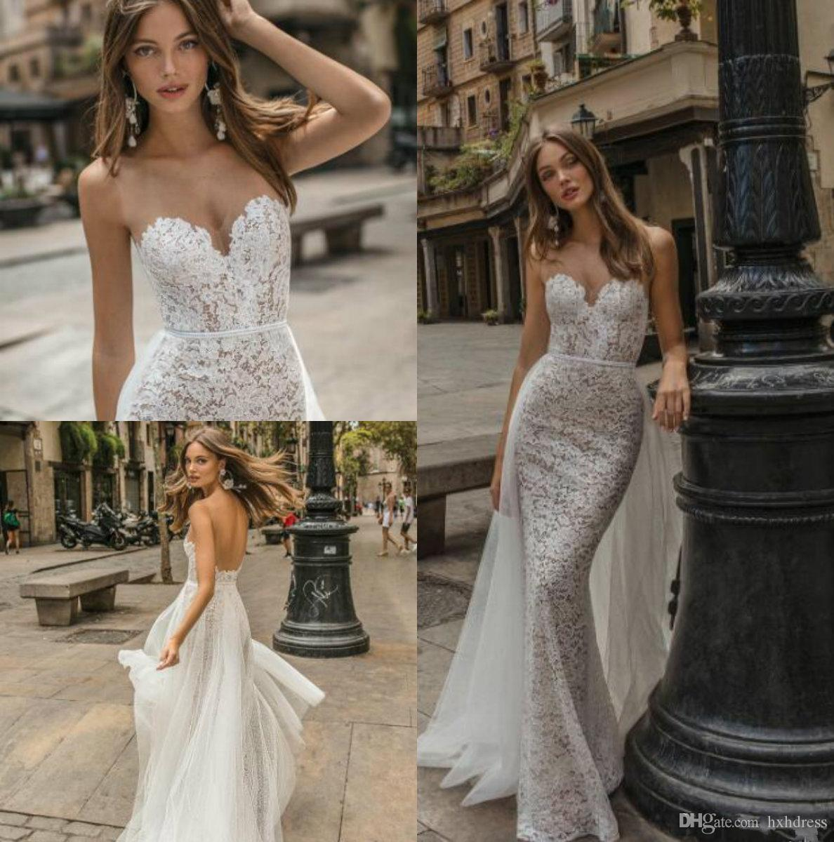 Sweetheart Neckline Lace Mermaid Wedding Dresses New 2019: 2019 New Muse By Berta Mermaid Wedding Dresses Sheer