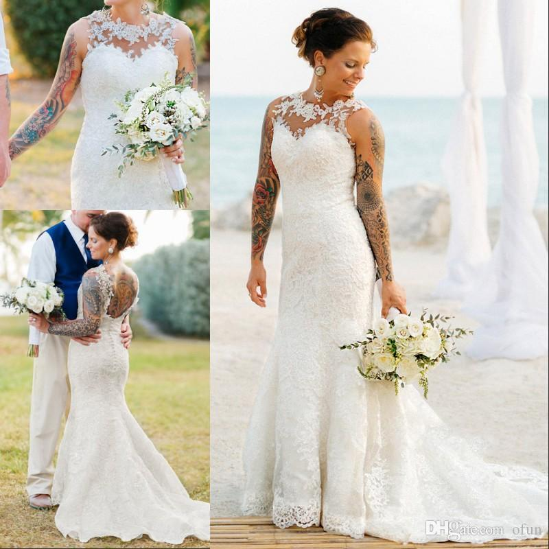 Delicate Jewel Neck Sleeveless Lace Appliques Bridal Gowns Open Back Sweep Train Country Wedding Dress robes de mariée