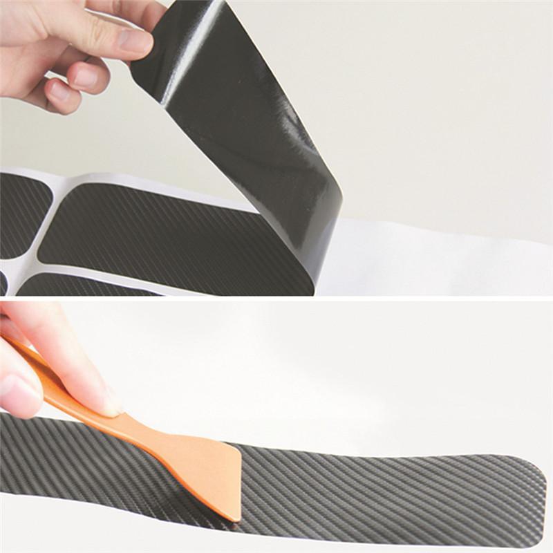 Black Car Door Plate Stickers Carbon Fiber Look Car Sticker Sill Scuff Cover Anti Scratch Decal Universal For All Car