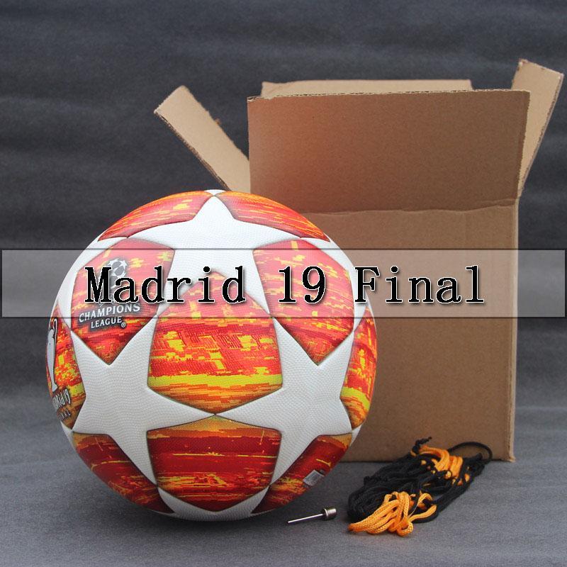 Red Madrid 19 Final Balls 2018 19 Champions League Soccer Ball Pu High Grade Seamless Paste Skin Football Ball Size 5