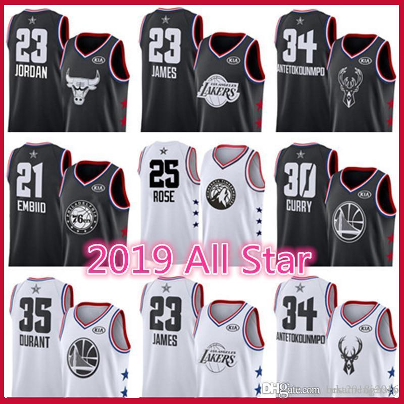online store c4686 2e370 All Star Chicago Jersey Bulls Michael Los Angeles LeBron 23 James Lakers 34  Antetokounmpo Bucks 76ers Embiid Simmons Warriors Curry Durant