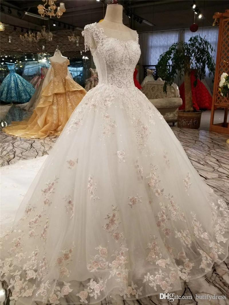 Sexy Wedding Dresses Luxury Brides Ball Gown Lace Elegant High Class Long Tail Brides Dresses Evning Dresses Chinese Factory Hand Made