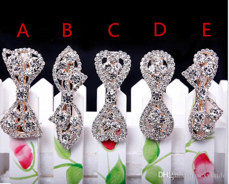 High Quailty Bridal Wedding Headpieces Bling Crystal Rhinestone Exquisite Hair Clip Hair Accessories Bow Silver Pleated For Women Girl Cheap