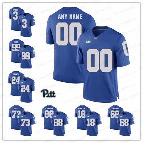 huge selection of 33a98 02db5 Custom Pittsburgh Panthers 2019 Pitt Football Jerseys 30 Qadree Ollison 22  Darrin Hall 44 Elias Reynolds Navy Gold White Royal Blue Jerseys