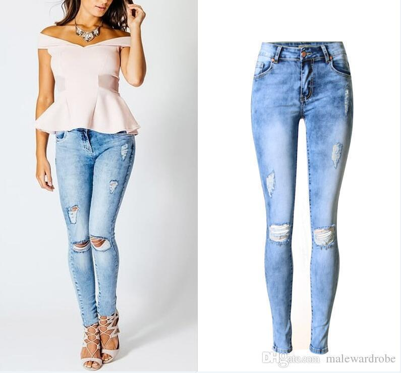 dc3ab7d8b3 2019 Plus Size 44 Pop Nice Pop Hole Ripped Jeans Women Pants Fashion Ladies  Stretchy Denim Pants Womens Skinny Jeans For Female From Tallahassed8