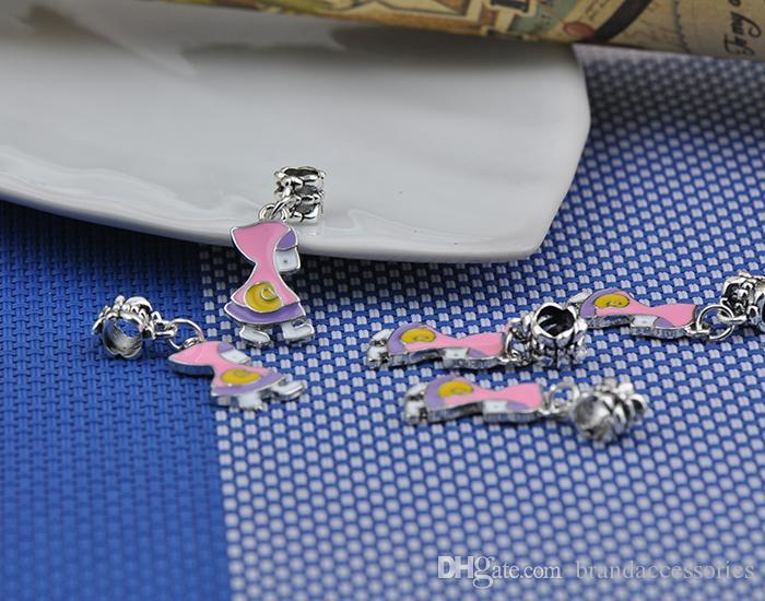 Funny Silver Enamel Pendants Fits Pandora Charms Bracelets Little Boy Kids Alloy Thread Beads DIY Necklace Jewelry Accessories DZ61