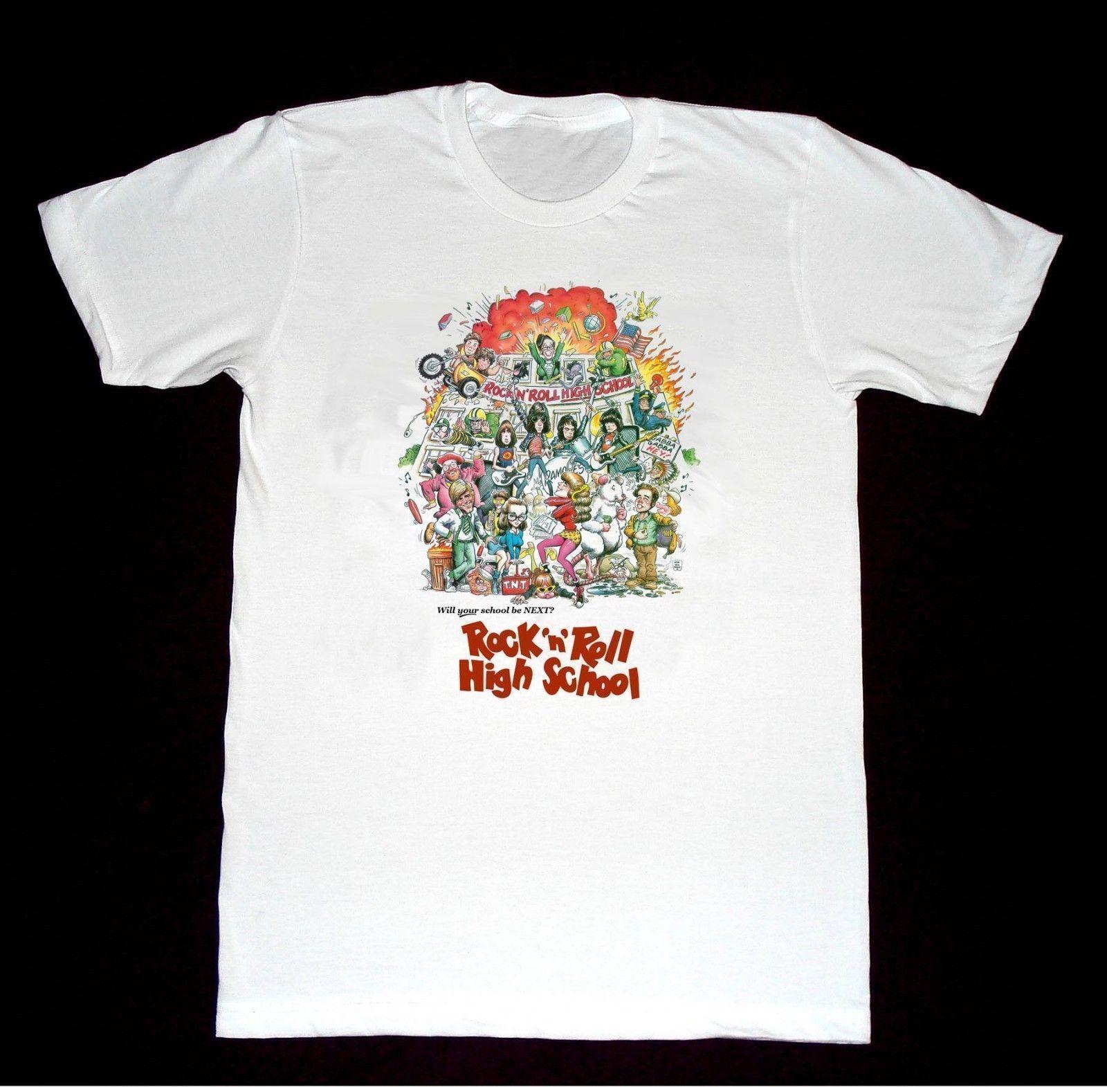 Rock Roll High School Ramones Tshirt Funny Printed Shirts Cool Tee