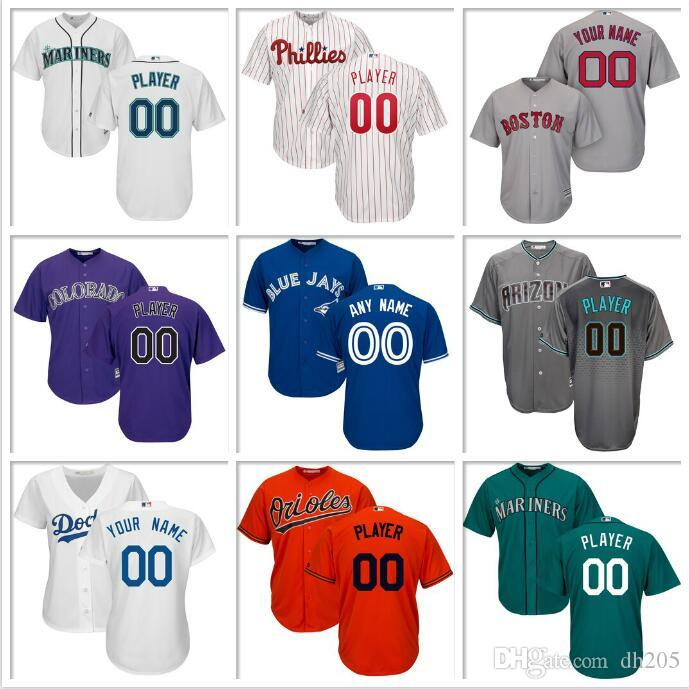 Encargo para hombre del jersey de béisbol de Kansas City Royals Miami Marlins Nacionales de Washington, New York Yankees Cerveceros Oficiales jerseys fresco base barato