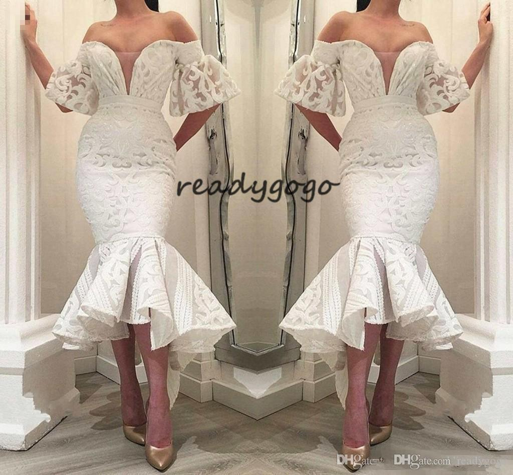 Gorgeous White Lace Mermaid Formal Evening Dresses 2019 Off Shoulder Ruffle Train Special Occasion Prom Party Gowns For Arabic Women Vestido