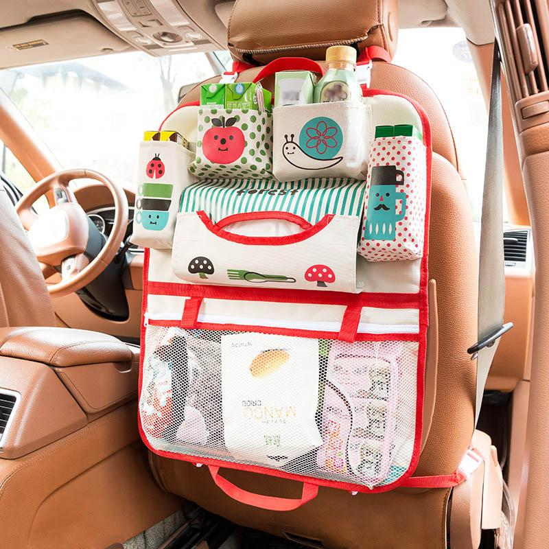 Universal Car Trunk Storage Bag Organizer Bottle Cup Holder Phone Tidying Net Mesh Pocket Back Seat Cover Bags C44