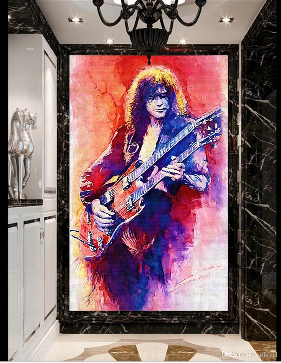 custom size 3d photo wallpaper living room mural rock guitarist oil painting bar porch backdrop wall wallpaper non-woven wall sticker