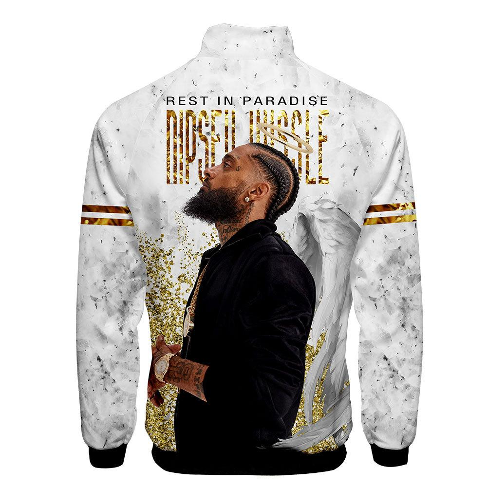 NIPSEY HUSSLE White Baseball Jackets Men Women Spring Cardigan Hoodies Pullovers Long Sleeved Zipper Up Sports 3D Jacket