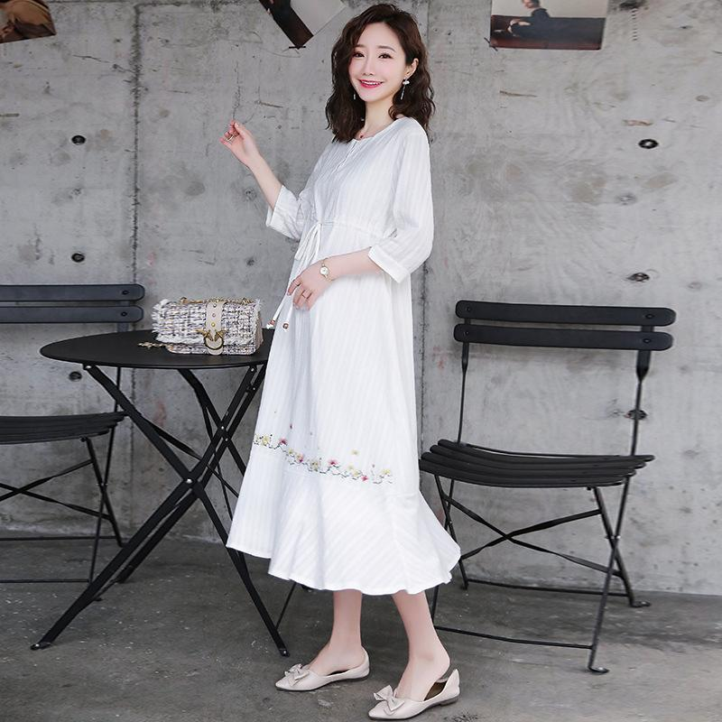1ff3829e2ada 2019 Maternity Dress Cotton Spring And Summer 2019 New Fashion Loose Floral  Embroidery Vintage Pregnant Women Dress Midi Dresses From Starryocean, ...