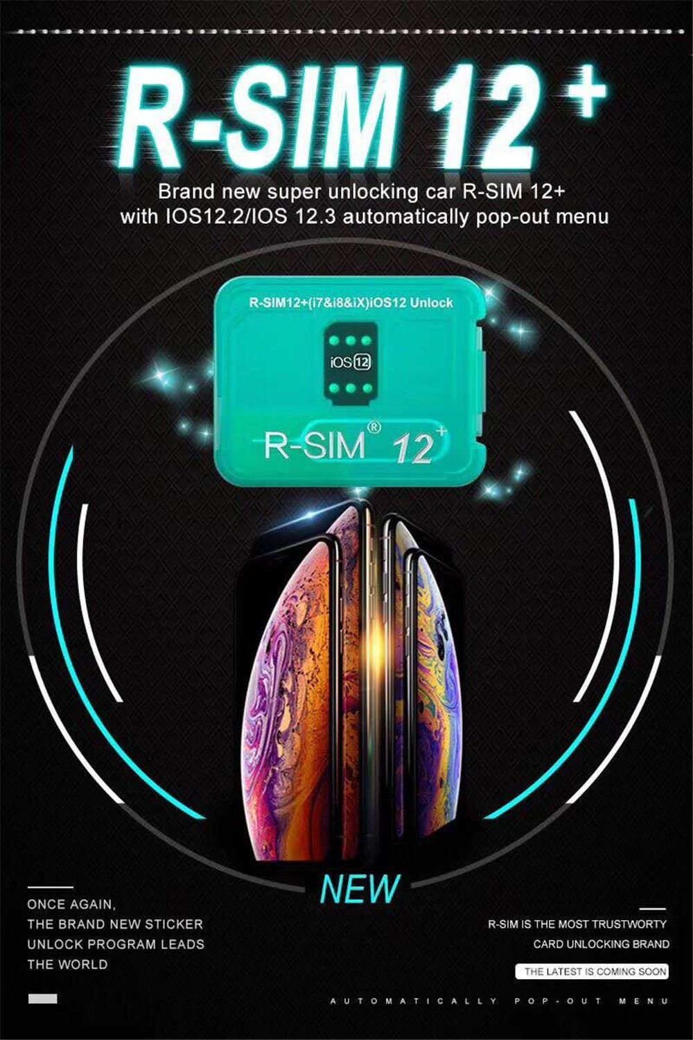 2019 R-Sim12+ RSIM12+ Unlock For Iphone XS X 8 7 Automatically Pop-Out Menu Unlocking For iOS 12.2-12.3 VS R-SIM 14