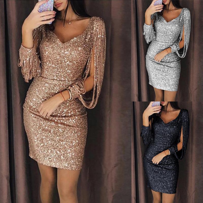 b2389ef974 2019 Tassel Lantern Sleeve Sequin Dress Women Sexy V Neck Bodycon Dresses  Summer Fashion Elegant Party Dress Sequined Vestidos Black Lace Summer Dress  Black ...