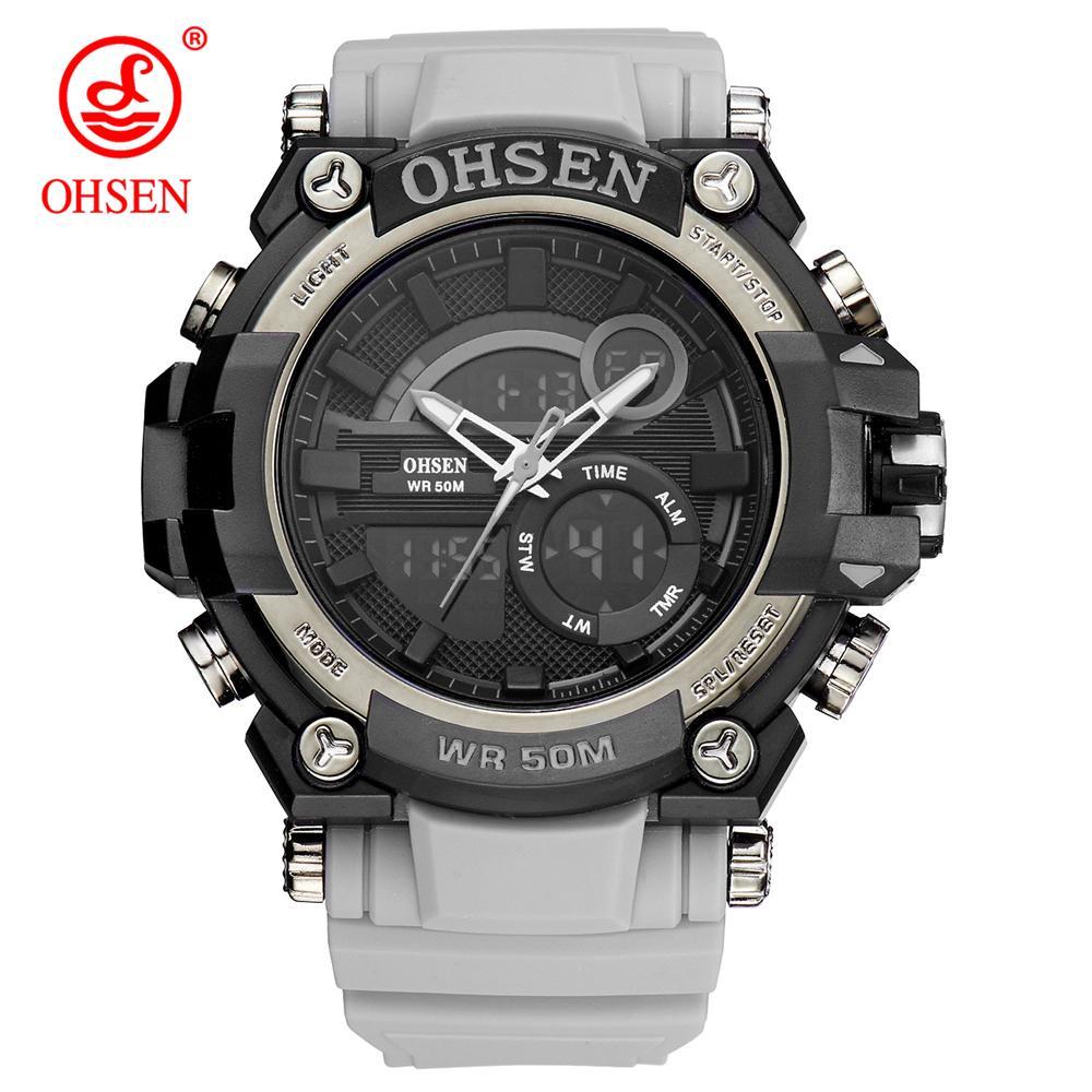 502a7e4a1c7 Compre OHSEN S Relógios Homens Do Exército Relógio De Pulso LED Relógio De  Quartzo Digital Dual Time Men Relógio Reloj Hombre Esporte Relógio Do  Exército De ...