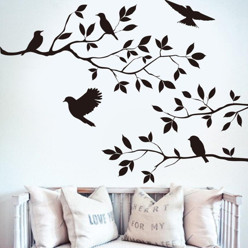 Black Bird on The Branch Wall Stickers Home Decor Flying Birds Plants Door Poster 44*60cm PVC Carved Wallpaper Window Art Mural