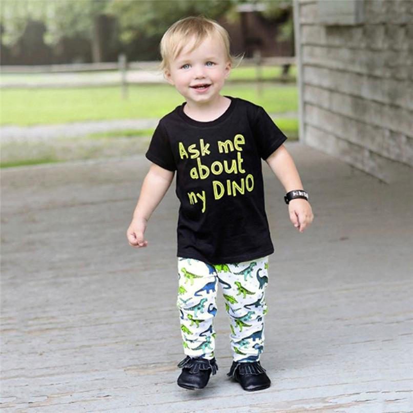 819695f5 2019 Kids Boys Clothes Boys Sets Infant Toddler Kids Baby Boys Inside Dinosaur  Print Short Sleeve Tops+Printed Pants Set JE27#F From Cynthia01, ...