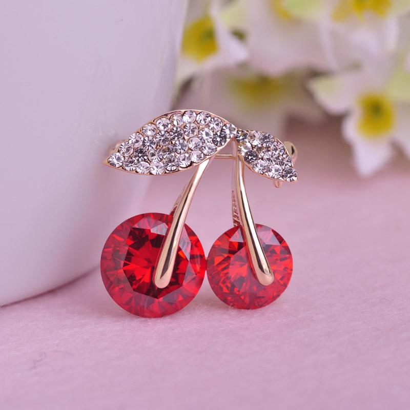 51ac637c6c ashion Jewelry Brooches Blucome Hot Sale Jewelry Red Cherry Brooch Crystals  Big Rhinestones Fruits Brooches Shining Corsage Women Dress P...