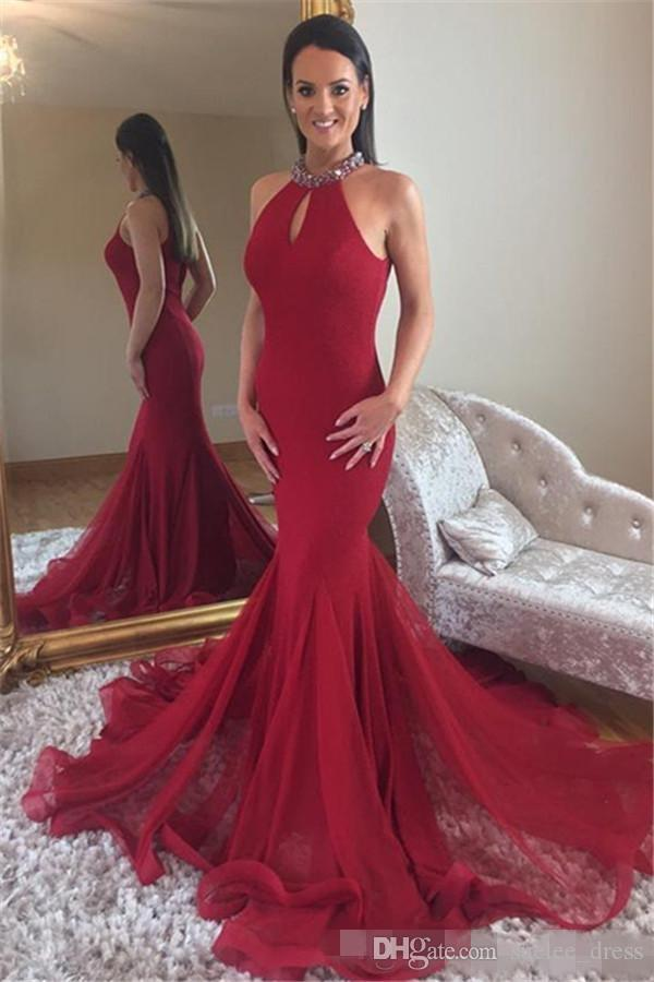 2019 Sexy Halter Dark Red Prom Dresses Mermaid Beaded Collar Keyhole Neck Sweep Train Sleeveless Custom Made Plus Size Formal Evening Wear