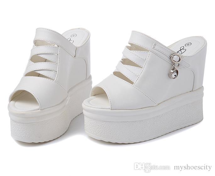 chic noir blanc plateforme sandales compensées mode luxe femmes designer chaussures taille 34 à 39
