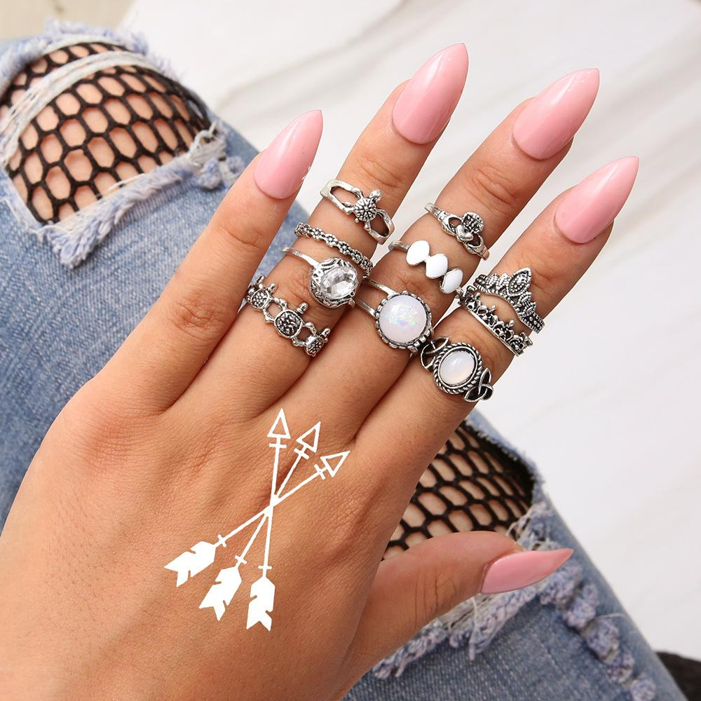 73bcde40efd 10 Pcs/Lot boho ring set for women lady gift retro vintage ring sets animal  Tortoise shape alloy silver jewelry factory selfdesign wholesale