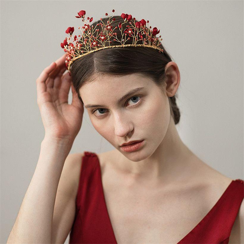aaf2b47f 2019 Wedding Bridal Red Flower Crown Headband Tiara Crystal Rhinestone Hair  Accessories Jewelry Headdress Headpiece Baroque Ornament Wearthy Gold From  ...