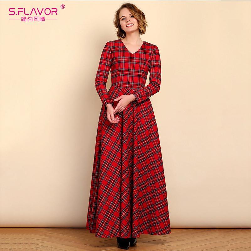 d1251da964fb S.FLAVOR Women Spring Red Plaid Party Vestidos Elegant V Neck Long ...