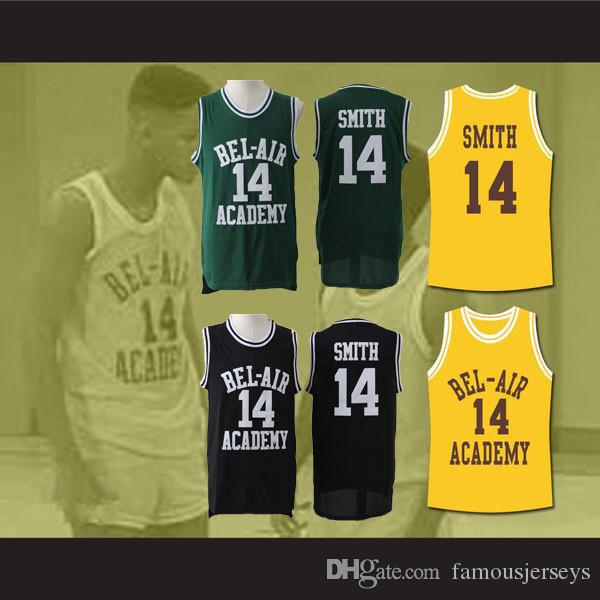 4e0312494ae2 2019 Stitched Mesh Jerseys The Fresh Prince Of Bel Air Embroidered Basketball  Jerseys  14 Will Smith Black Green Yellow Jerseys From Famousjerseys