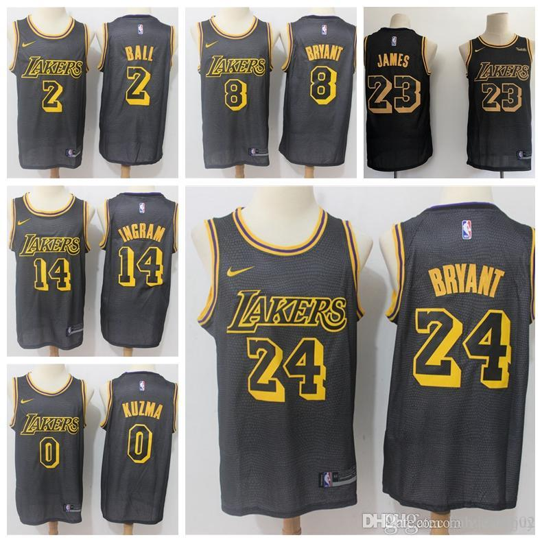 sports shoes 84b92 56ef1 2019 23 LeBron James Laker Jersey The City Los Angeles Kobe 24 Lonzo 2 Ball  Kyle 0 Kuzma Brandon 14 Ingram Basketball Jersey NEW Black mark