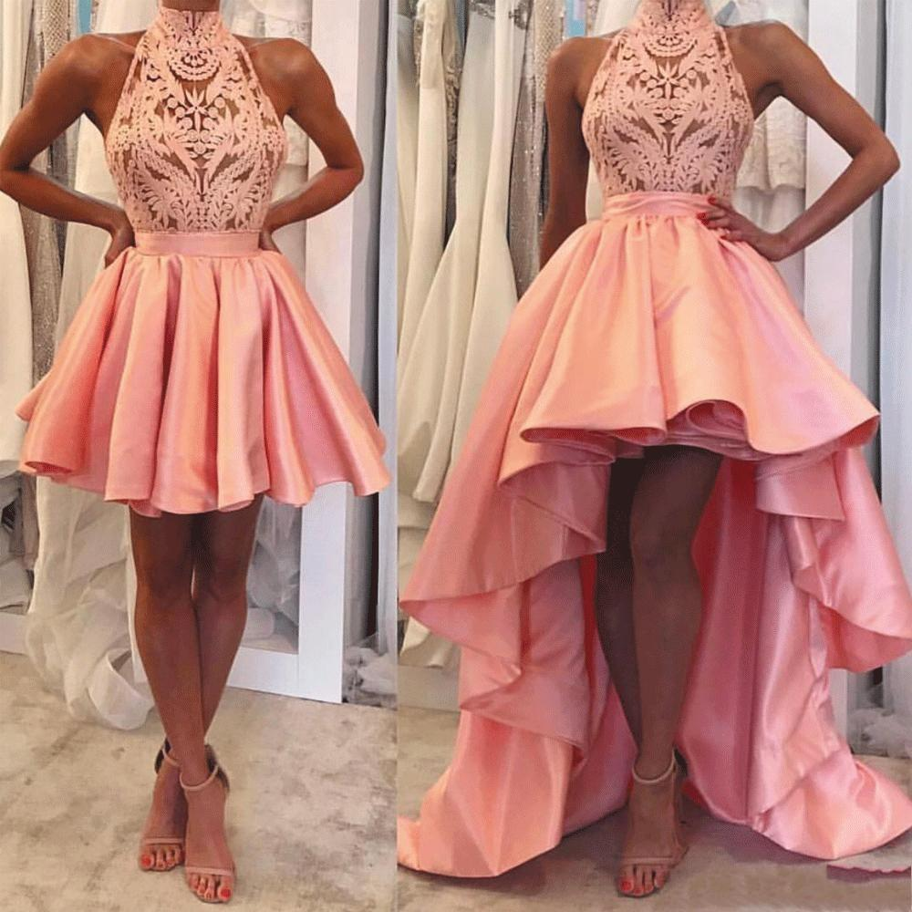 5aa0ef326d 2019 Girls Detachable Skirt Prom Dresses Short Halter Neckline Guipure Lace  And Satin Peach High Low Prom Gowns Evening Dresses Prom Dress With Sleeves  Prom ...