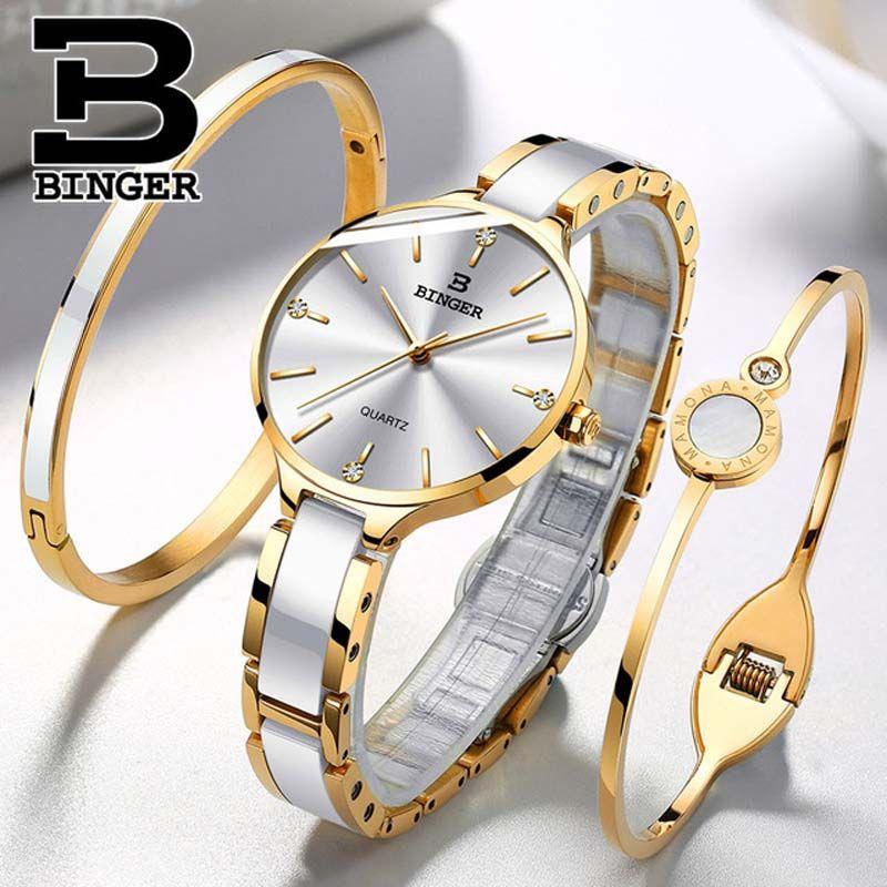 8f24eca136d2 Compre Suiza BINGER 7 MM Reloj De Cuarzo Ultra Fino Mujeres Moda Correa De  Cerámica De Oro Relojes De Pulsera Señoras A Prueba De Agua Montre Femme  2019 A ...