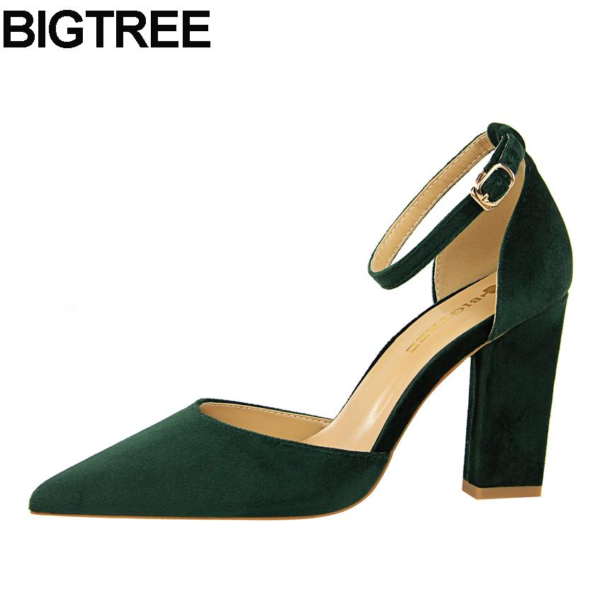 417a6a9a567 Dress Bigtree Women High Heels Flock Ankle Strap Buckle Pumps Thick Square  Block Heels Pointy Toe D Orsay Cut Out Sandals Shoes Woman Cheap Shoes For  Women ...