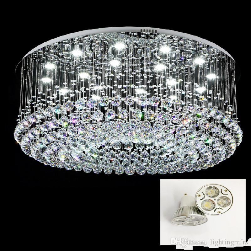 Contemporary Round LED Crystal Celling Light Rain drop K9 Crystal Chandeliers Flush Mount LED Ceilinglights Lustres Lighting Fixtures