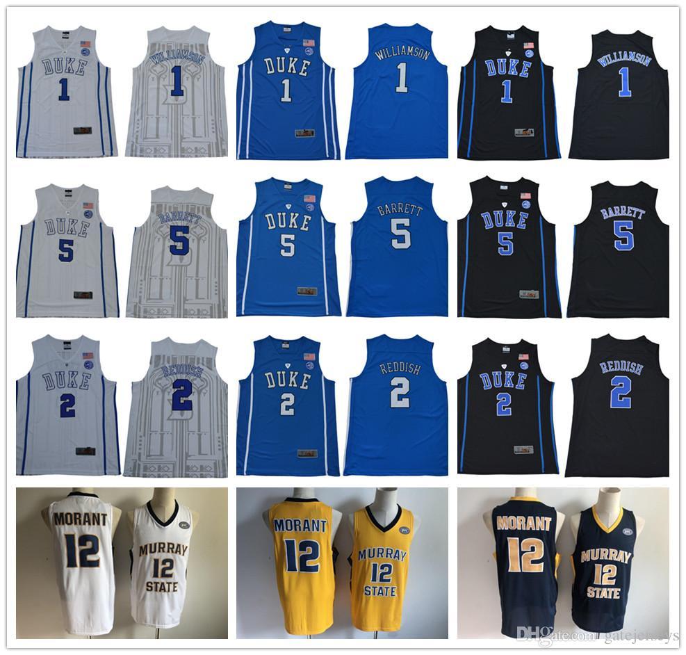 3f1980bfdd38 2019 NCAA 1 Zion Williamson Duke Blue Devils College Jersey 12 Ja Morant  Murray State 5 RJ Barrett 2 Cameron Reddish 4 Redick Christian Laettner From  ...