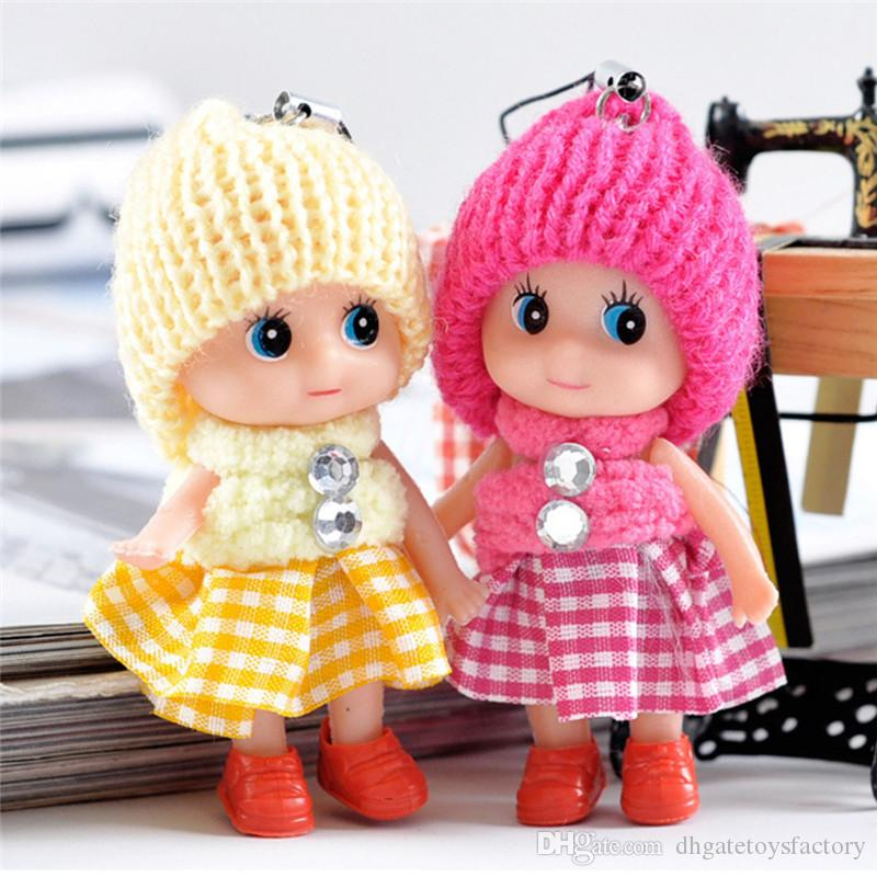 Plaid Skirt Lovely Doll Decoration Mobile Phone Key Ring Pendant Hanging Toys Random Color Cute Baby Doll Knit