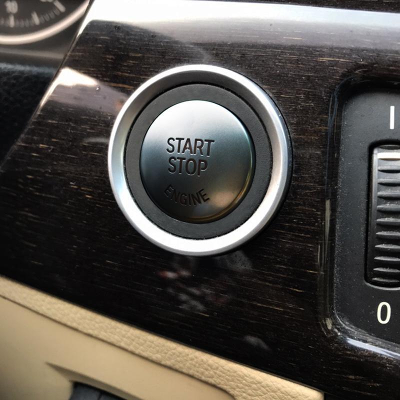 Chrome ABS Start Stop Engine Buttons Sequins Decals For BMW E90 E92 E93 3  Series 2005-2012 Car Interior A Key Start Cover Trim