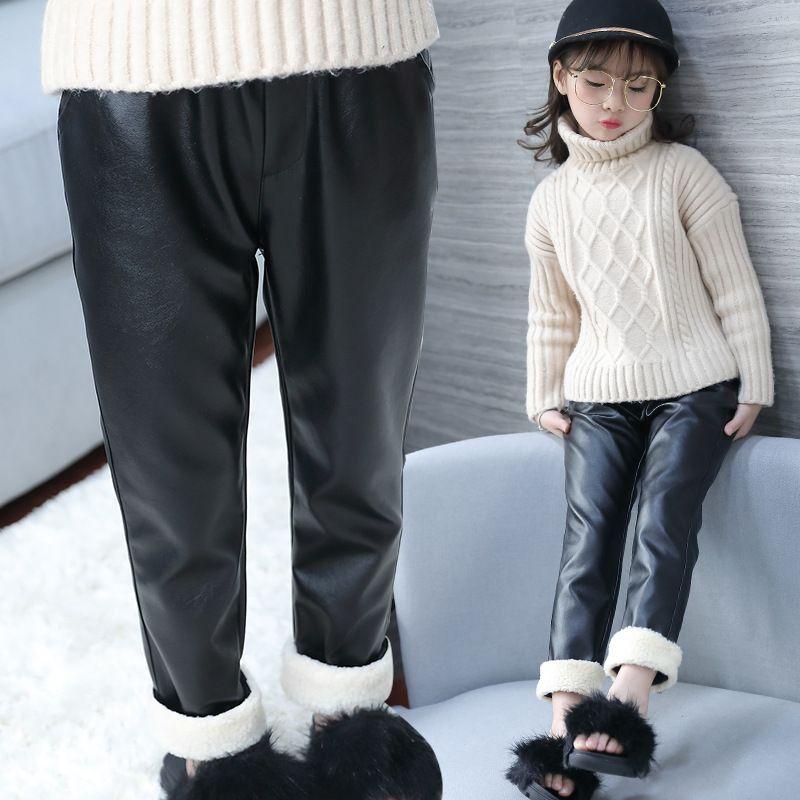 4092ee4b82591 Winter Leggings For Girls Children Faux Leather Leggings Black Velvet Girls  Pants Skinny Thick Warm Fleece Trouser 3 4 6 8 Years Kids Pants On Sale  Casual ...
