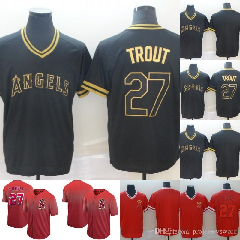 sports shoes 7955c 11bd8 Mens Los Angeles Jersey 27 Mike Trout 100% Stitched Angels Mike Trout  Baseball Jerseys Cheap Fast Shipping S-XXXL