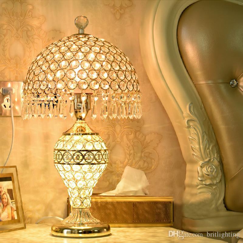 2019 New Crystal Table Lamp Bedroom Bedside Lights Romantic Wedding ...