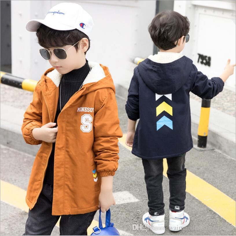 2d4580c53 Boy Autumn Winter Coats Children S Fashion Letters Plus Velvet ...