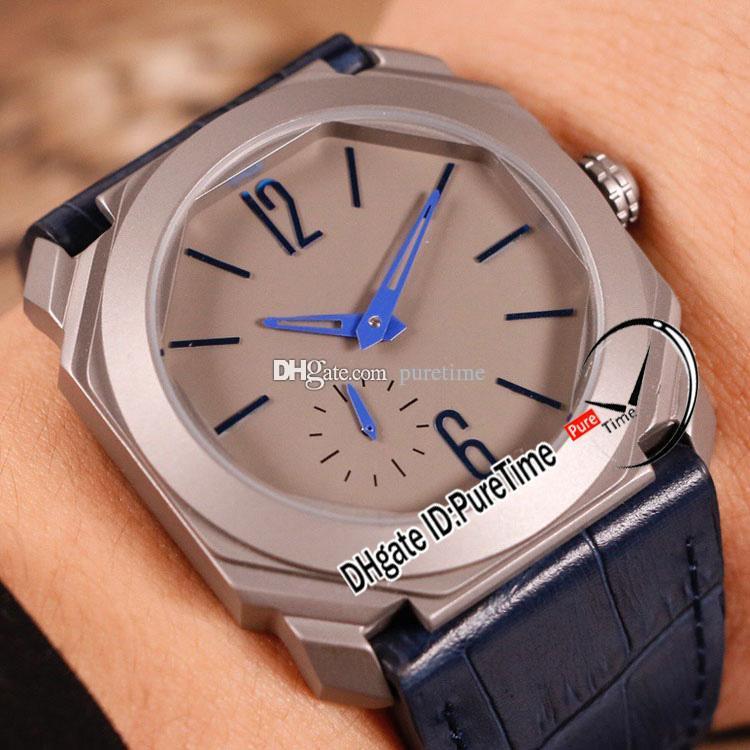 New OCTO Finissimo Automatische Herrenuhr 102945 Titanium Steel Grey Dial Blau-Stick Marker Blau Lederband 28800vph 41mm Puretime G15b2