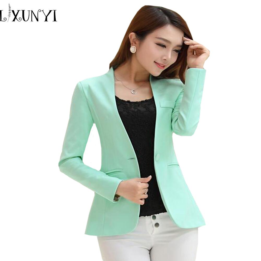 439b274e48 2019 2018 Spring Autumn Long Sleeve Shrug Women Blazer Candy Color Ladies  Blazer Jacket Suit Jackets Women Blazers And Jackets Green Y18110701 From  ...