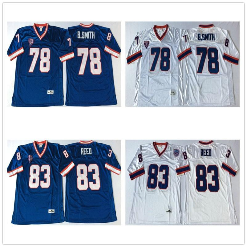 78fcf8e4 Mens Bruce Smith Football Jersey Andre Reed High Quality Stitched Retro  American Football Jerseys