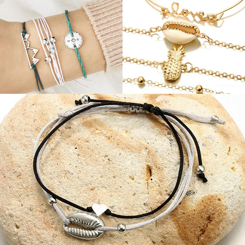 f908911897f0d 2019 Hot 1 Set Female Multilayers Bracelets Gold Silver Green Chain Link  Shell Bracelet Bangles Charm Wrist Jewelry For Women