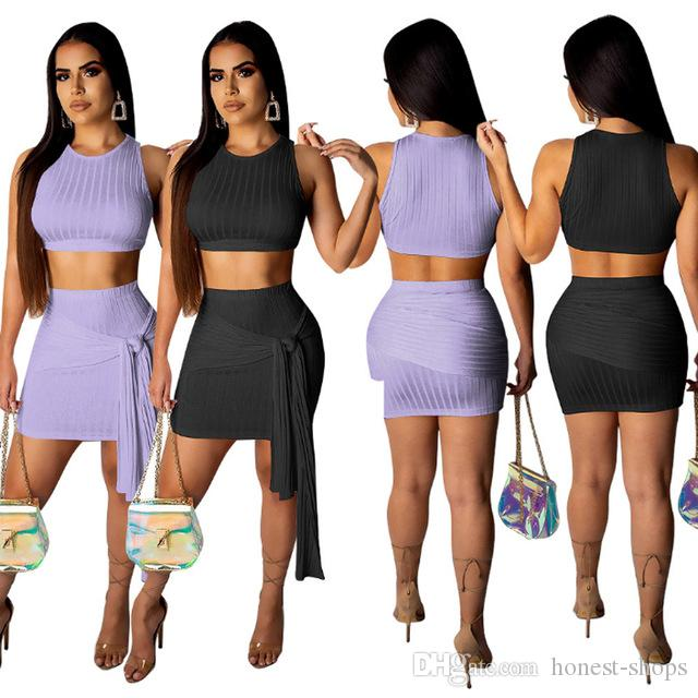 c6144f82eba7e 2019 Women Two Piece Set Female Tracksuit Sling Tank Top + Pack Hip Skirt  Ladies Kniting Striped Skirt Sexy Outfit Femme Sets From Honest Shops, ...