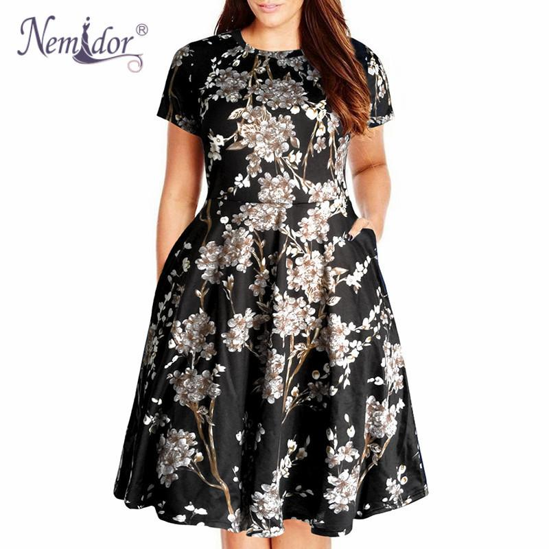 Nemidor Women Casual O-neck Short Sleeve 50s Party A-line Dress Vintage Print Midi Plus Size 8xl 9xl Swing Dress With Pockets J190509