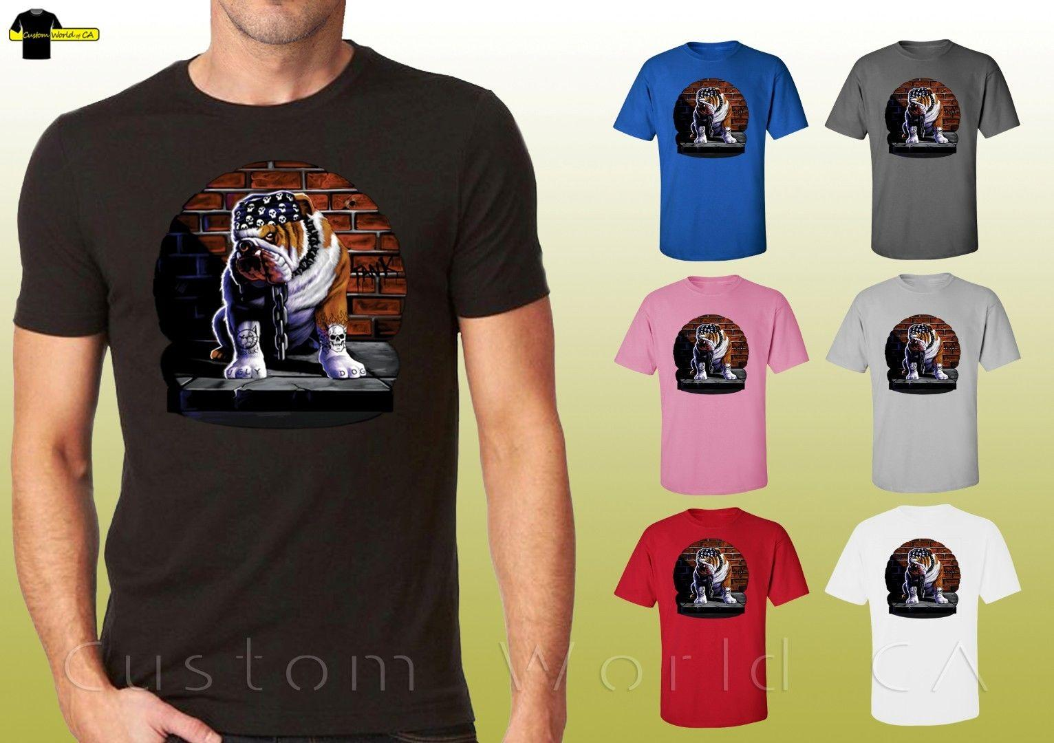 Tuff Dog Camisa Gráfica Tough Bulldog Inglês Projeto Unisex T-Shirt  (10535d2) Dos Desenhos Animados t shirt homens Unisex Novo