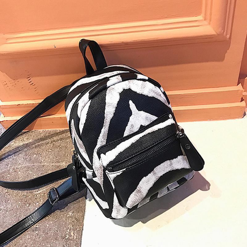 200f2a83f201 Fashion Zebra Pattern Small Backpacks Women Pu Leather Backpack Kids Fashion  Back Pack Travel Chain Plush Bags Winter Bag Sac Hunting Backpacks Gregory  ...